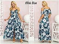 a0140526cf3 Длинное шифоновое платье большого размера в крупный цветок сарафан большого  размера