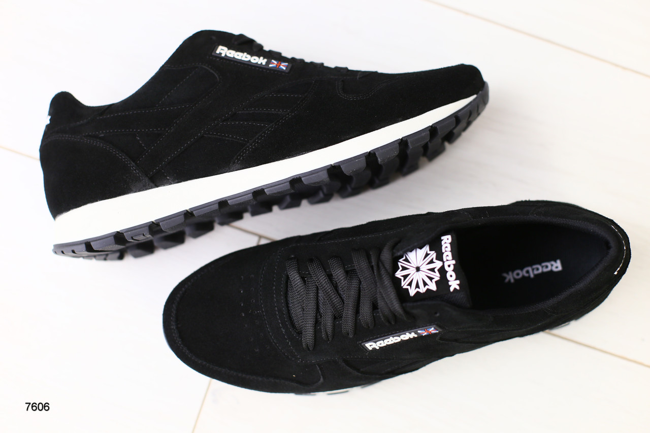 Кроссовки мужские черные замшевые  в стиле Reebok
