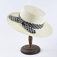 Летняя пляжная женская шляпка канотье с ленточкой молочный цвет, фото 1