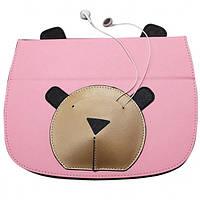 Кожаный чехол-книжка TTX Bear Face с подставкой для Apple iPad mini (Retina)/Apple iPad mini 3 (Розовый)