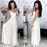 Длинное белое нарядное платье женское летнее легкое костюмка 42-48 размеров,