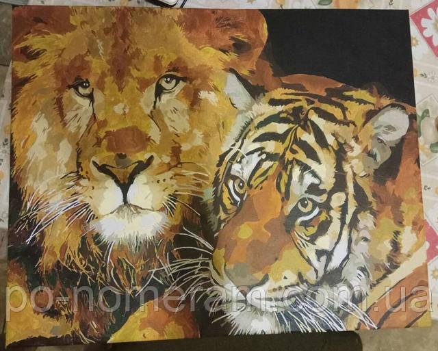 Раскраска акриловыми красками пара львов
