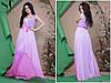 Красивое приталенное женское платье в пол под пояс шифоновая юбка верх со вставкой евросетки со стразами 42-46, фото 2