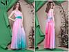 Красивое приталенное женское платье в пол под пояс шифоновая юбка верх со вставкой евросетки со стразами 42-46, фото 5