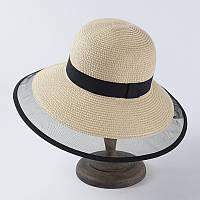 Женская ретро шляпка Одри Хепберн бежевая с черной ленточкой и сеточкой, фото 1