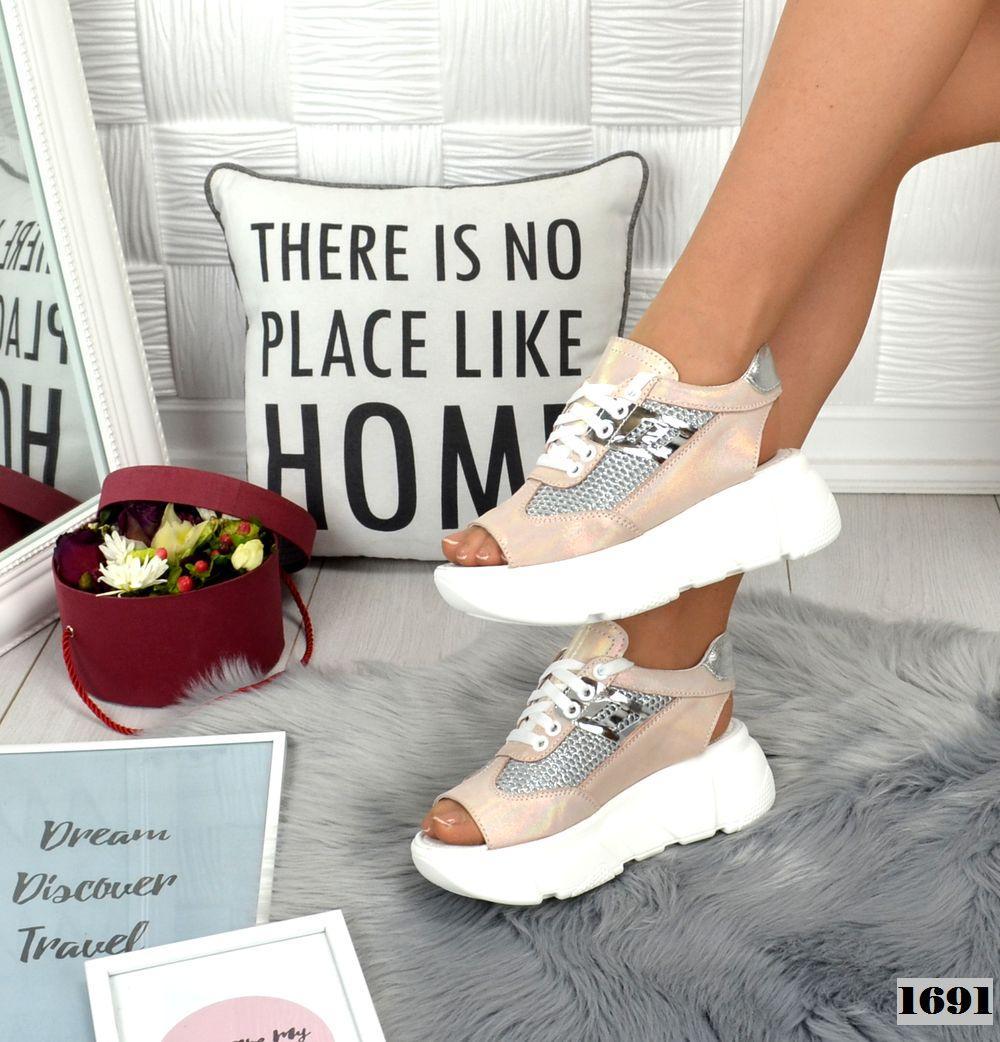 Кросівки жіночі шкіряні літні пудрові