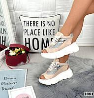 Кросівки жіночі шкіряні літні пудрові, фото 1