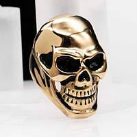 Байкерское кольцо из медицинской стали Золотой череп 43 мм 103285