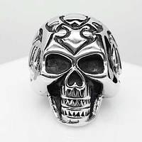 Байкерское кольцо из стали в виде стилизованного черепа 28 мм 103290