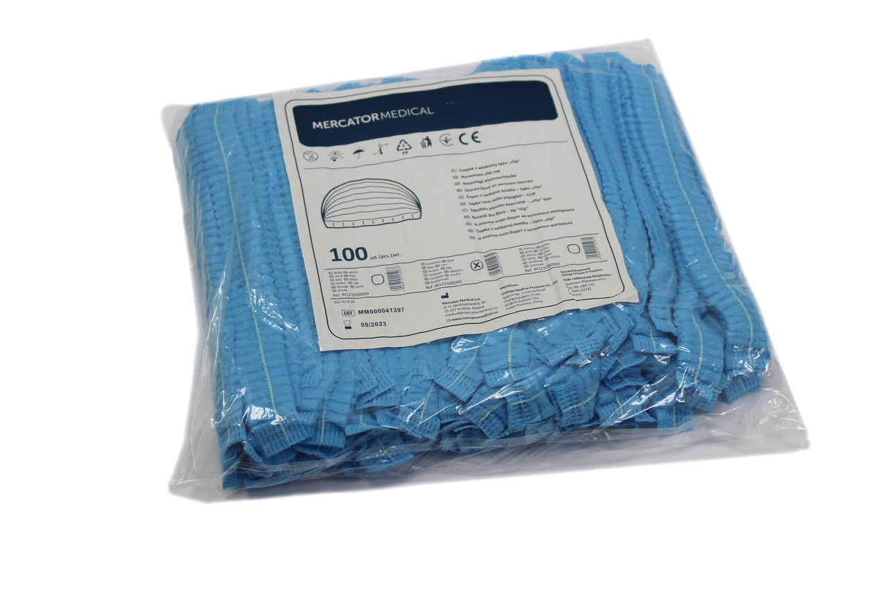 Шапочки одноразовые Одуванчик (100 шт/уп) голубые