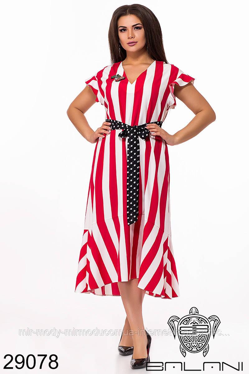 Нарядное платье в полоску  29078  с  44 по 60 размер (бн)