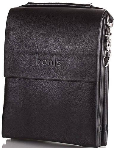 Мужская компактная сумка из качественного кожзама BONIS (БОНИС) SHIS8607-black черный