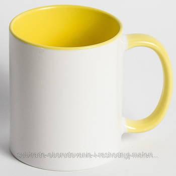 Чашка сублимационная цветная внутри ЖЕЛТАЯ