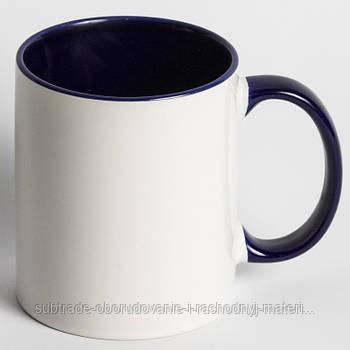 Чашка сублимационная цветная внутри КОБАЛЬТ