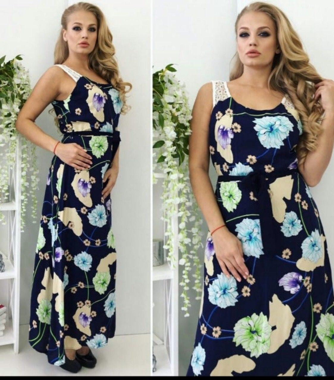 """Стильное женское платье с цветочным принтом в пол ткань """"штапель"""" на подкладке р 46  размер батал"""