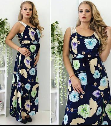 """Стильное женское платье с цветочным принтом в пол ткань """"штапель"""" на подкладке р 46  размер батал, фото 2"""
