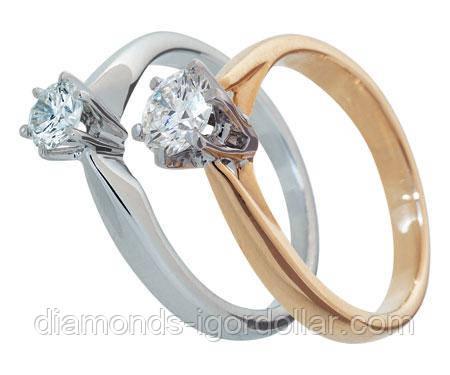 Кльцо с бриллиантом натуральным  3,3 мм  0,14 карат 3/5 200$