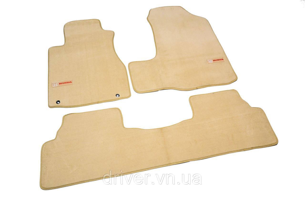 Килимки текстильні  для Honda CR-V (2006-2012) Бежеві Premium 3шт BGLX1206