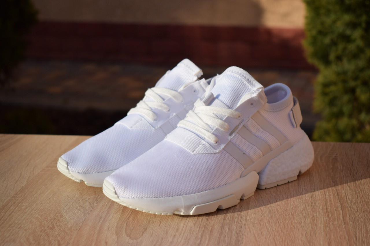 Женские кроссовки Adidas POD-S3.1 на лето из текстиля качественные в белом цвете, ТОП-реплика