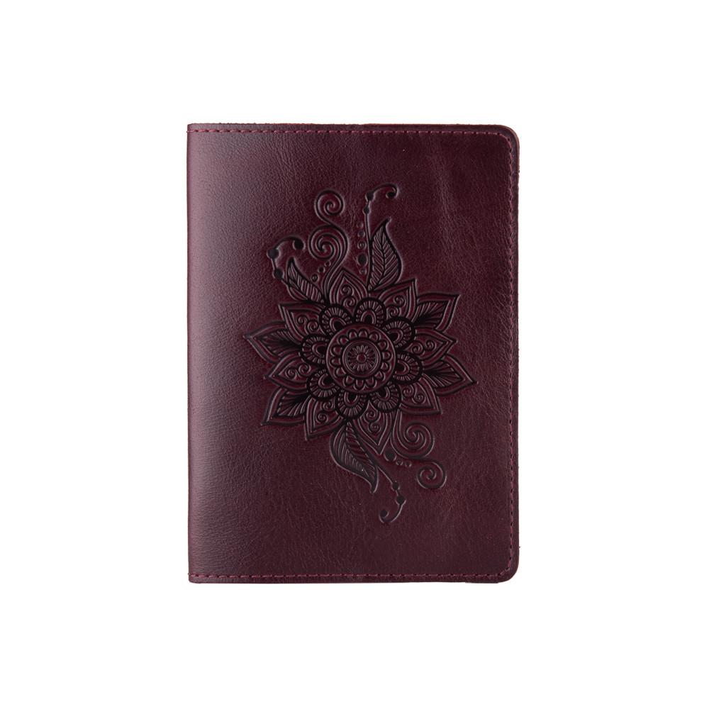 Оригинальная фиолетовая дизайнерская кожаная обложка для паспорта ручной работы с отделом для ID документов