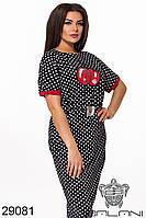 Нарядное платье в горошек  29081  с  44 по 60 размер (бн)