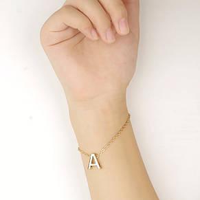 """Нежный браслет """"Буква"""" золотого цвета (в наличии: D), фото 2"""