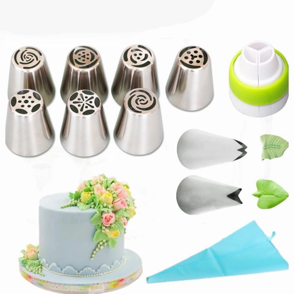 12 в 1 кондитерский набор для цветов и композиций из крема(для капкейков/тортов/и т.д.)