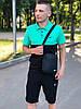 Футболка поло мятно-черный + шорты черные Nike летние стильные мужской