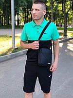 Футболка поло мятно-черный + шорты черные Nike летние стильные мужской, фото 1