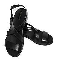 Сандалии кожаные на ортопедической подошве, цвет черный., фото 1
