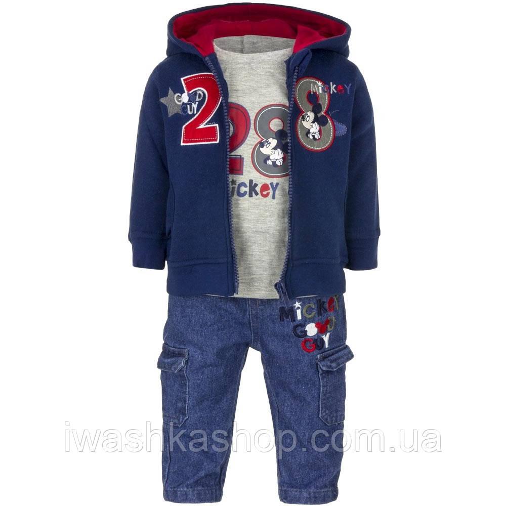 Утепленный костюм на мальчика, толстовка, лонгслив и джинсы, р. 74 на 12 месяцев, Disney baby