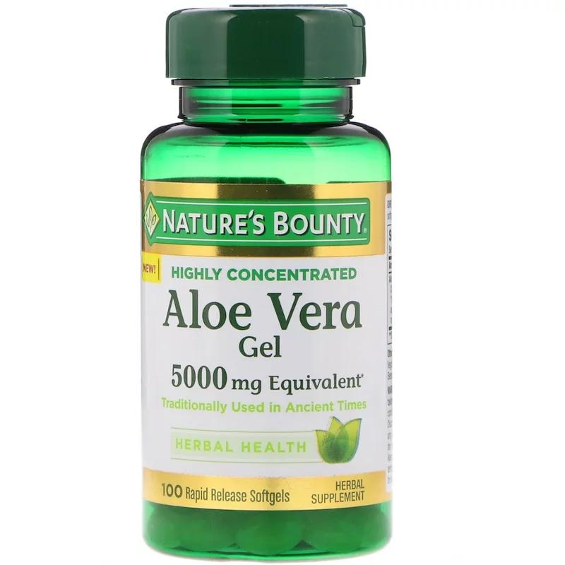 Алоэ Вера, Nature's Bounty, Aloe Vera Gel, гель 5000мг, 100 таблеток