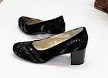 Женские комбинированные туфли на каблуке, фото 3