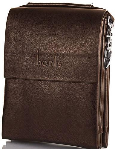Мужская лаконичная сумка из качественного кожзама BONIS (БОНИС) SHIS8607-brown коричневый