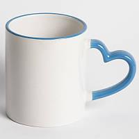 Чашка сублимационная цветная с ободком LOVE (ручка сердце) 330 мл ГОЛУБАЯ