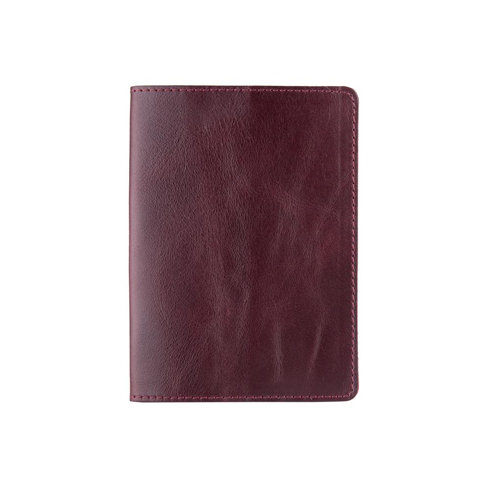 Фиолетовая кожаная обложка-органайзер с отделом для ID документов