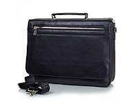 Кожаная мужская сумка-портфель А4 компактная стильная модная для ноутбука 13