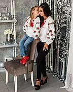 Вышиванка блуза для девочек Трояндочка от 6 до 13 лет