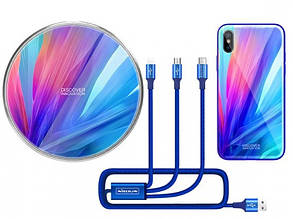 Подарочный комплект Nillkin Fancy (беспроводное ЗУ + чехол Glass case для iPhone XS Max +кабель 3в1)