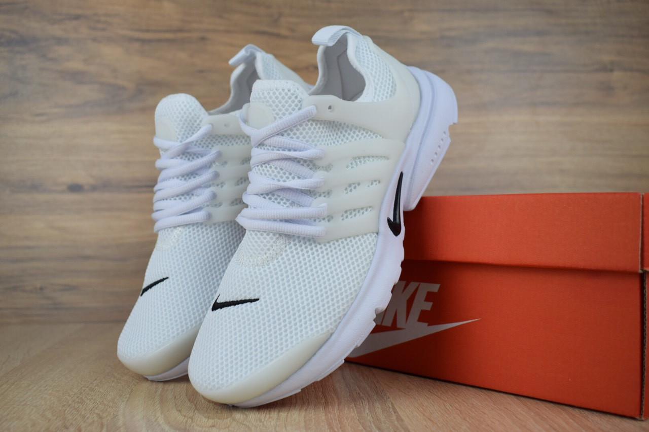 Кроссовки женские Nike Air Presto сетка+пена стильные удобные практичные найк на шнуровке (белые), ТОП-реплика