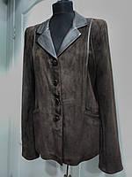 Пиджак из натурального замша с отделкой кожи длина-64см  48р-50р ОГ-102 ОБ-106