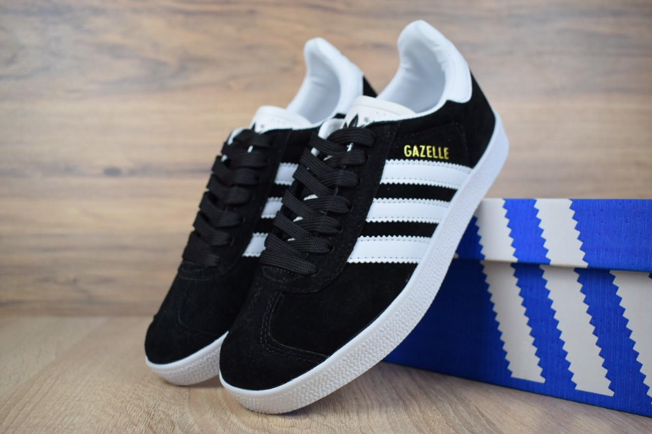 Кеды женские Adidas Gazelle замша удобные качественные адидасы на шнуровке черные, ТОП-реплика