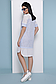 Прямое летнее платье с коротким рукавом лен + прошва 070, фото 3