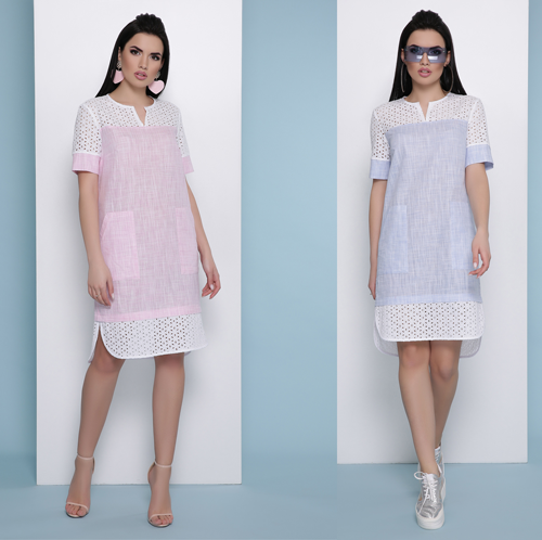 Прямое летнее платье с коротким рукавом лен + прошва 070