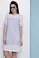Прямое летнее платье с коротким рукавом лен + прошва 070, фото 7