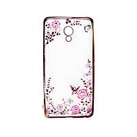 Прозрачный чехол с цветами и стразами для Meizu M3e с глянцевым бампером (Розовый золотой/Розовые цветы)