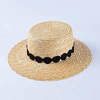 Женская соломенная шляпка канотье с черной ленточкой