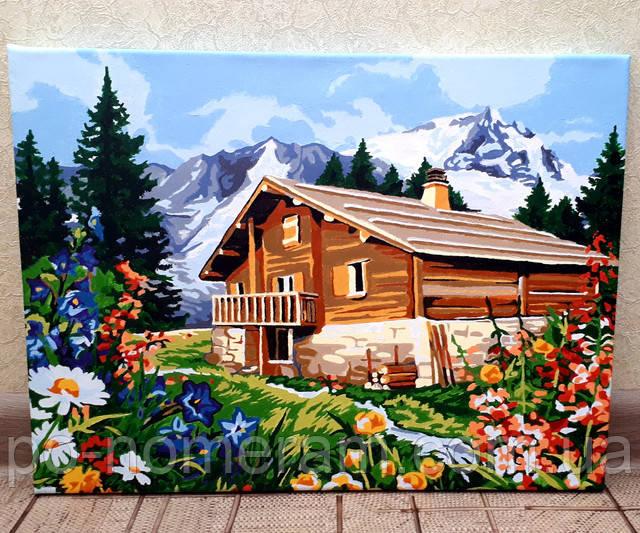 Раскраска по цифрам Домик в Альпах
