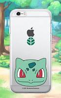 """Прозрачный силиконовый чехол """"Pokemon Go"""" для Apple iPhone 5/5S/SE (Bulbasaur / face)"""
