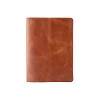Удобная обложка для паспорта с натуральной кожи светло коричневого цвета